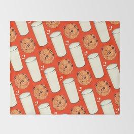 Milk & Cookies Pattern - Red Throw Blanket
