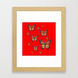 RED ART MONARCH BUTTERFLIES Framed Art Print
