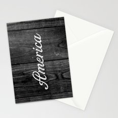 Black and White Patriotic Vintage America USA Wood Stationery Cards
