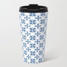 Damask pattern design in blue Metal Travel Mug