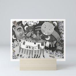 Cats at Night Mini Art Print