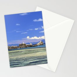 Crystal clear blue sea print   Island La Digue Seychelles   Travel photography Stationery Cards