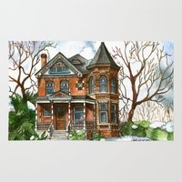 victorian Area & Throw Rugs featuring Victorian Winter by Shelley Ylst Art