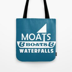 Moats and Boats and Waterfalls Graphic in Blue Tote Bag
