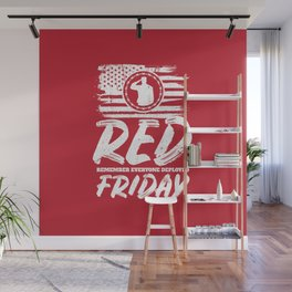 Remember Deployed Red Friday USA Soldier Wall Mural