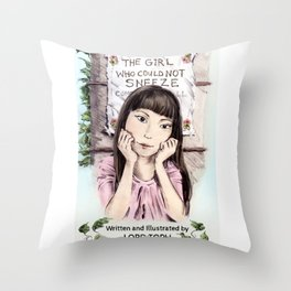 The Girl Who Could Not Sneeze (Book Cover) Throw Pillow