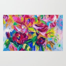 Abstract Colorful Flowers Rug