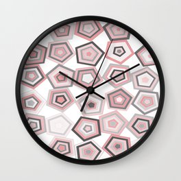 Balancing Pentagons in Pink & Grey Wall Clock