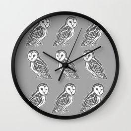 Grey and White Barn Owls Pattern Wall Clock