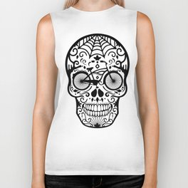 Vintage Mexican Skull with Bicycle - black and white Biker Tank