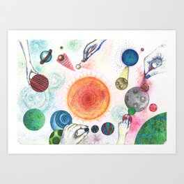 the universe in dots (pointillism) Art Print