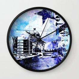 Berlin urban blue mixed media art Wall Clock