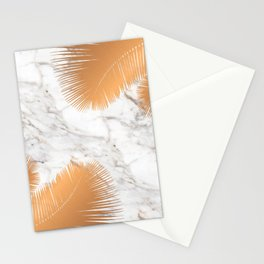 Copper Palm Leaves on Marble Stationery Cards