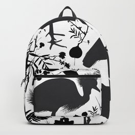 Black crowned crane with grass and flowers black silhouette Backpack