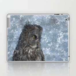 Contemplation - Great Grey Owl Portrait Laptop & iPad Skin
