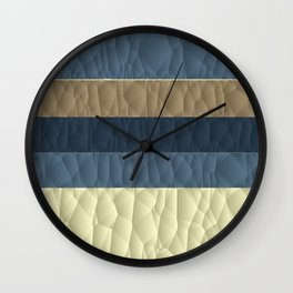 Cool Blue Taupe Color Pallet Quilted Texture Design Wall Clock