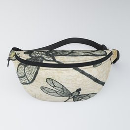 Dragonflies on tan texture Fanny Pack