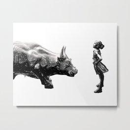 fearless girl statue, Wall street bull girl, Fearless girl statue, Feminist wall art gift Metal Print
