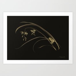 Frog and Orchid Art Print