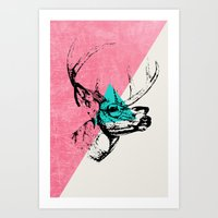 techno Art Prints featuring Techno Deer by Zeke Tucker