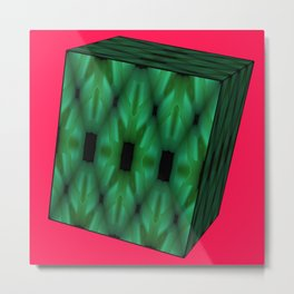 3D Green Box Red Pink Background  Metal Print
