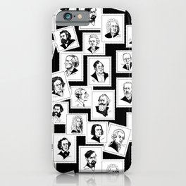Pattern from stamps with 30 great composers (black&white version) iPhone Case