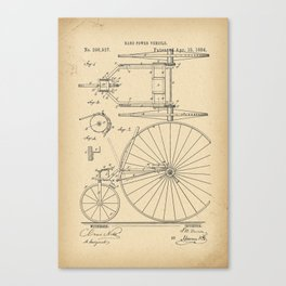 1884 Patent Velocipede Tricycle Bicycle archival history invention Canvas Print