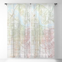 Amsterdam Map Art Watecolor by Zouzounio Art Sheer Curtain