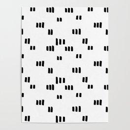 Line Dot Black Paint on Paper Poster