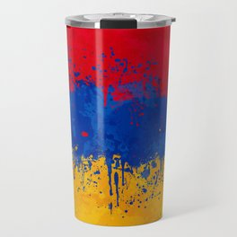 Armenia Flag - Messy Action Painting Travel Mug