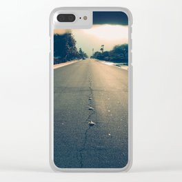 street leading to horizon at sunset Clear iPhone Case