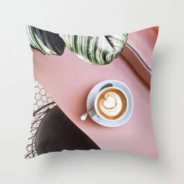 pink latte Throw Pillow