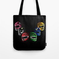 power rangers Tote Bags featuring Mighty Morphin Power Rangers by Jelly Soup Studios