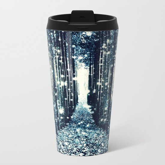 Magical Forest Teal Gray Elegance Metal Travel Mug
