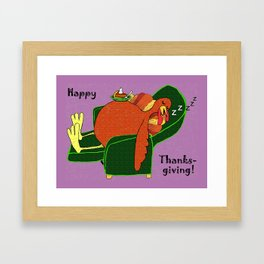 Sleeping Turkey with Pumpkin Pie Framed Art Print