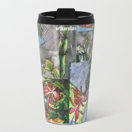 Christmas Cactus Collage Travel Mug
