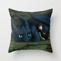 how to train your dragon Throw Pillows featuring How to train your Dragon by amanda.scopel