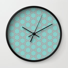 Hexagonal Dreams - Grey & Turquoise Wall Clock
