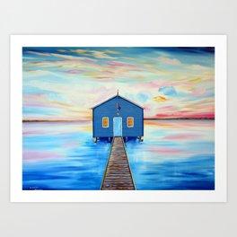 Blue Boat-shed Perth-Swan River Art Print