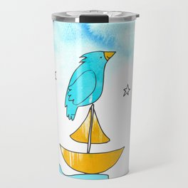 """Bird on a Boat, Dreaming (from the book, """"You, the Magician"""") Travel Mug"""
