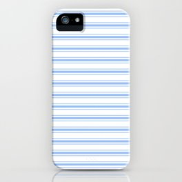Mattress Ticking Wide Horizontal Striped Pattern in Pale Blue and White iPhone Case