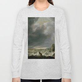 """Simon de Vlieger """"Ship in Distress off a Rocky Coast"""" Long Sleeve T-shirt"""