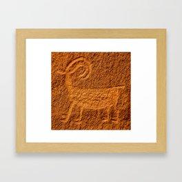 Bighorn Sheep Petroglyph - Moab, Utah Framed Art Print