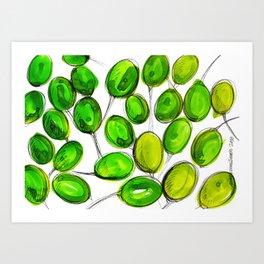 Green plums Art Print