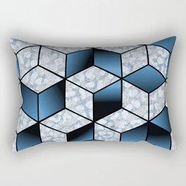 Abstract Blue Cubic Effect Design Rectangular Pillow