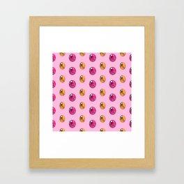 Sherbet Faceted Oval Gemstones Pattern Framed Art Print