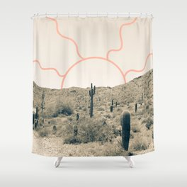 Wonder Rift // Abstract Vintage Mountains Summer Sun Surfer Beach Vibes Drawing Happy Wall Decor Shower Curtain