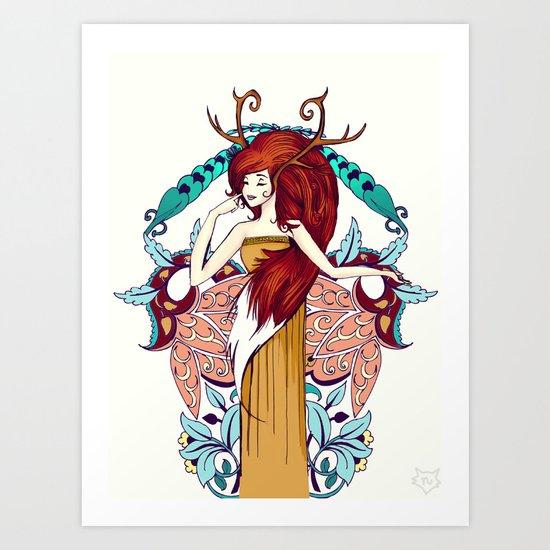 Lady of Fall Art Print
