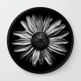 Backyard Flowers In Black And White 18 Wall Clock