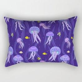 Sea jellyfish on dark purple background. Rectangular Pillow